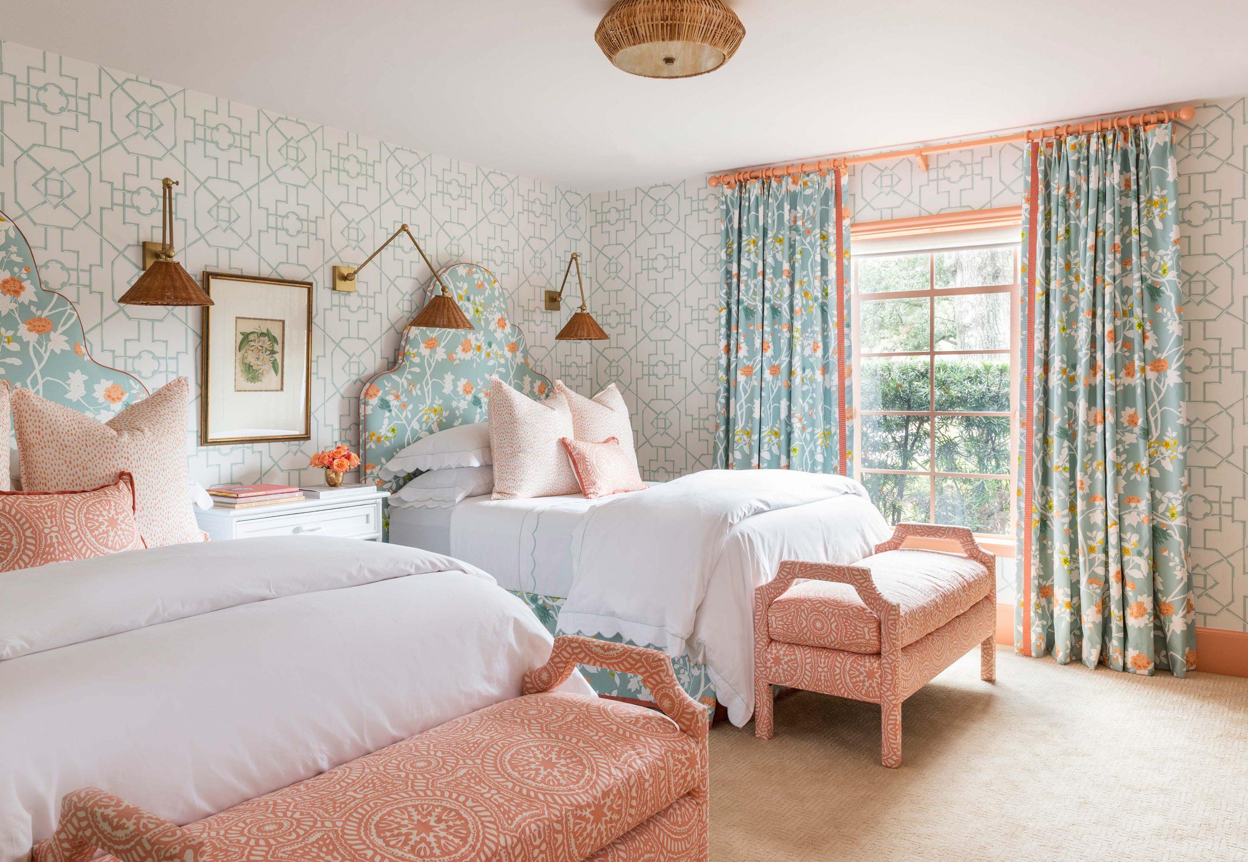 Peach Pattern Bedroom Creative Tonic