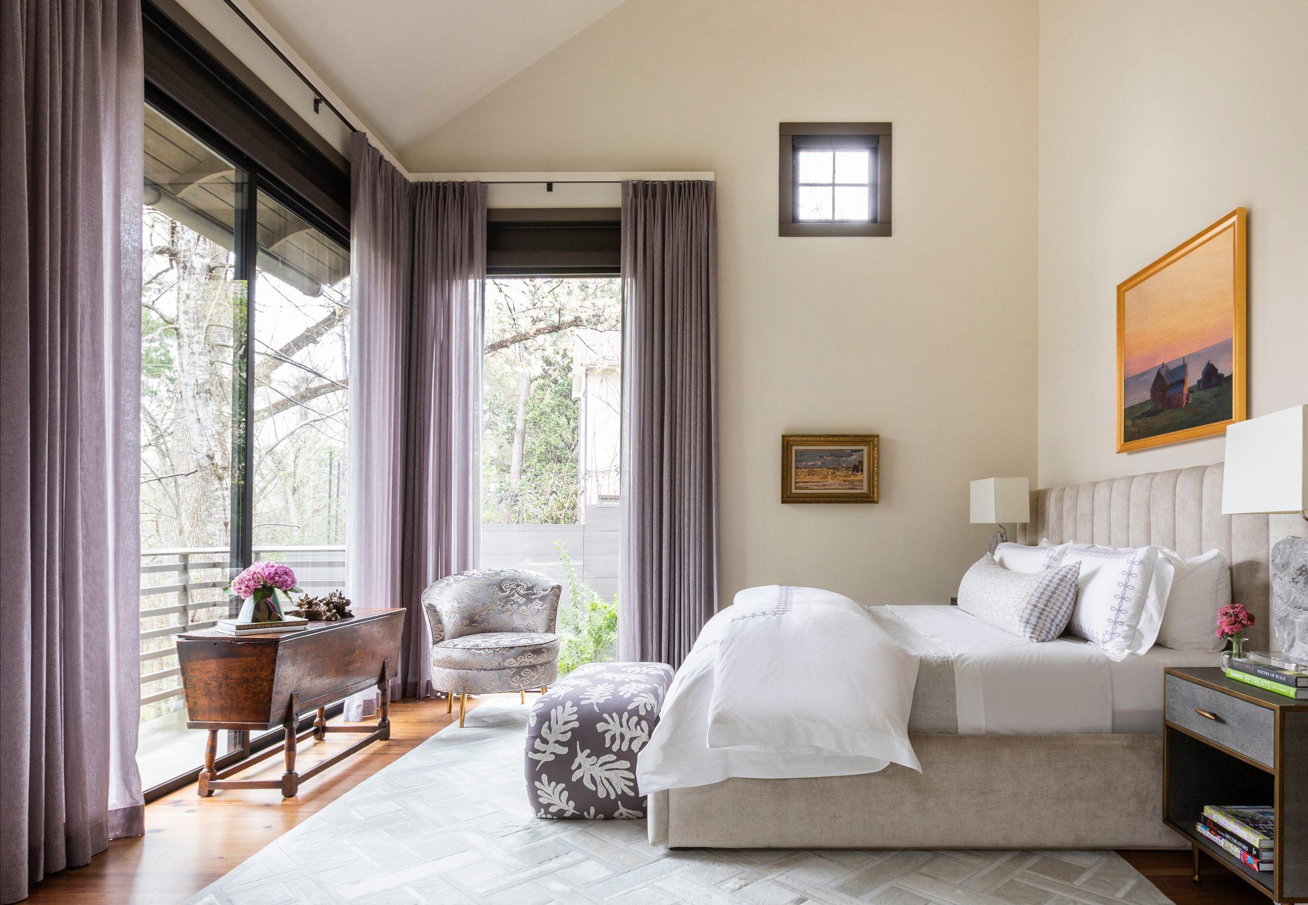 white bedroom with purple drapes - Creative Tonic