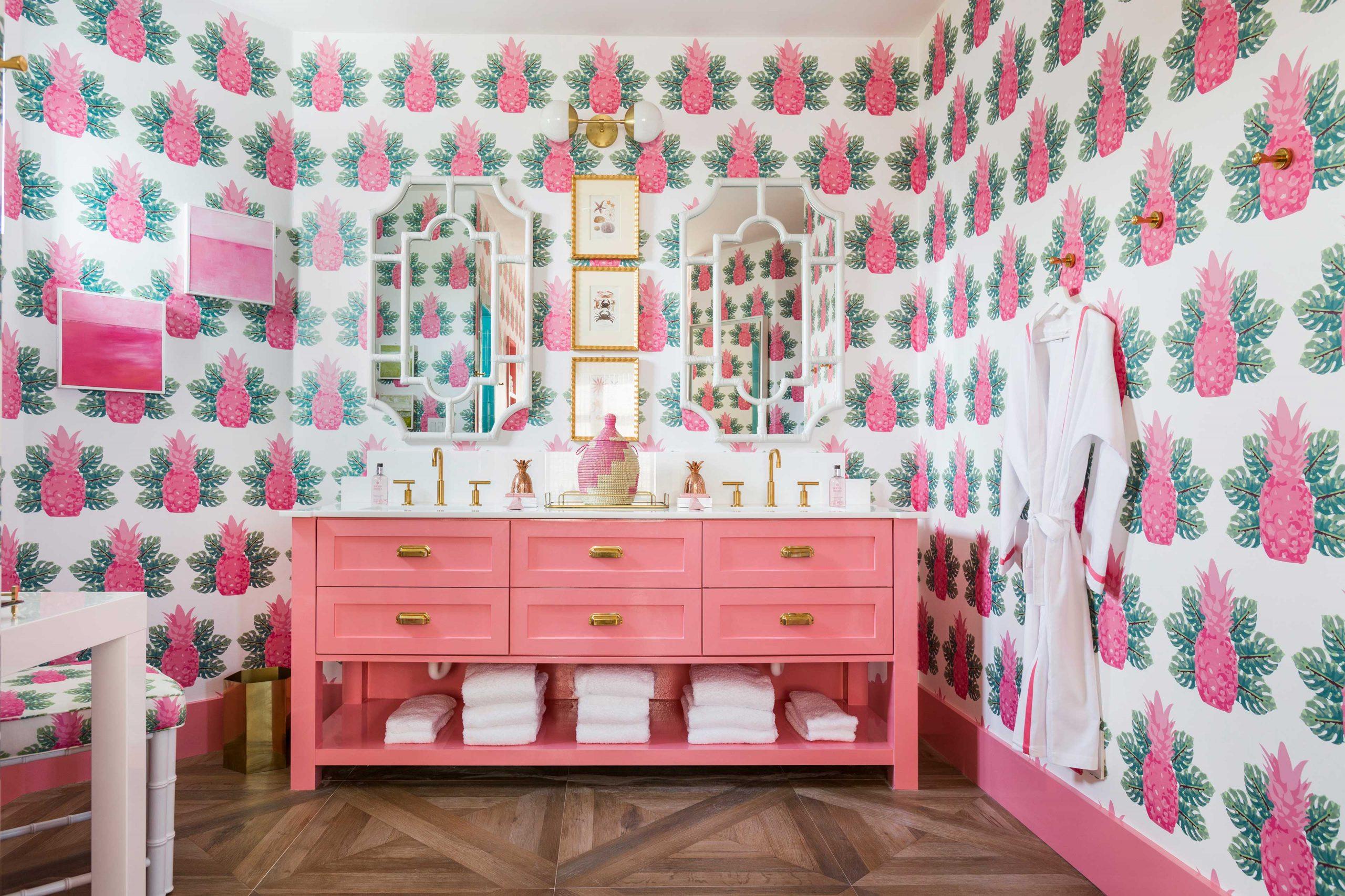 Pink Feminine Bathroom Creative Tonic