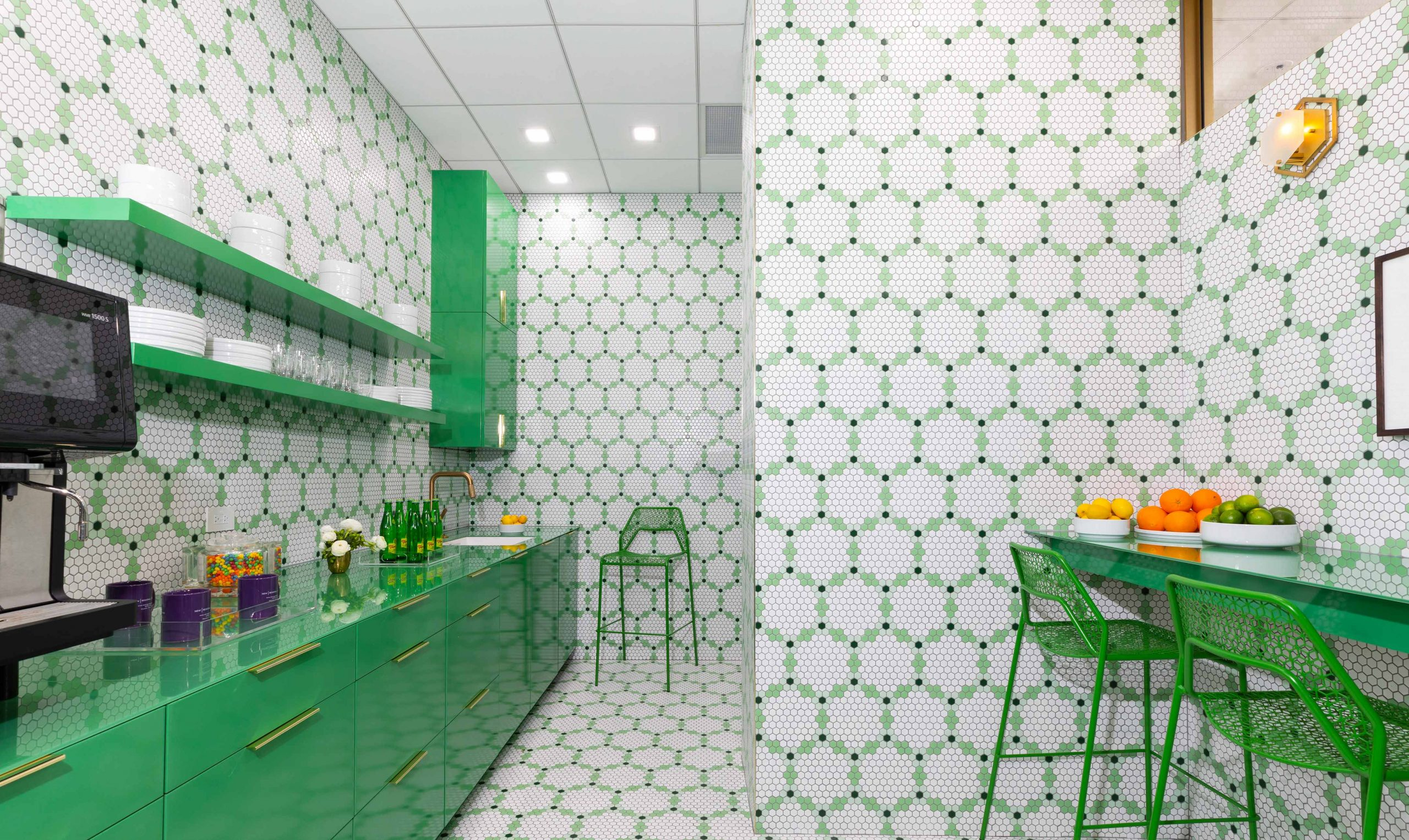 tiled kitchen with green and white accents - Creative Tonic