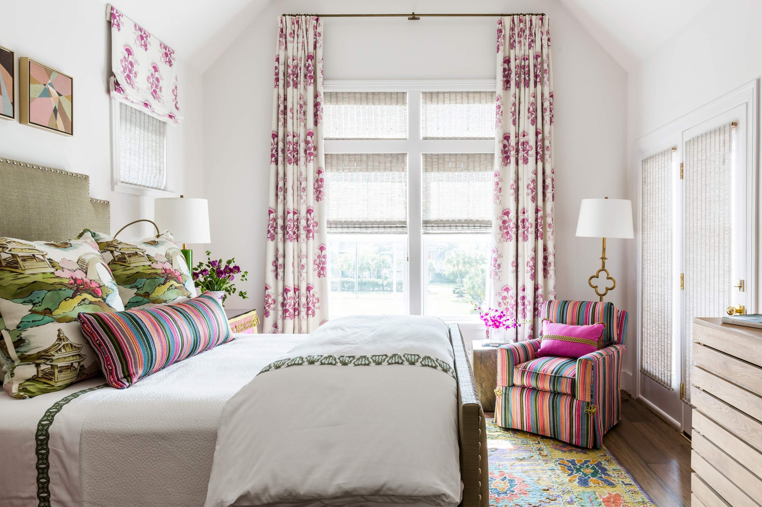 kids white bedroom with pink accents - Creative Tonic