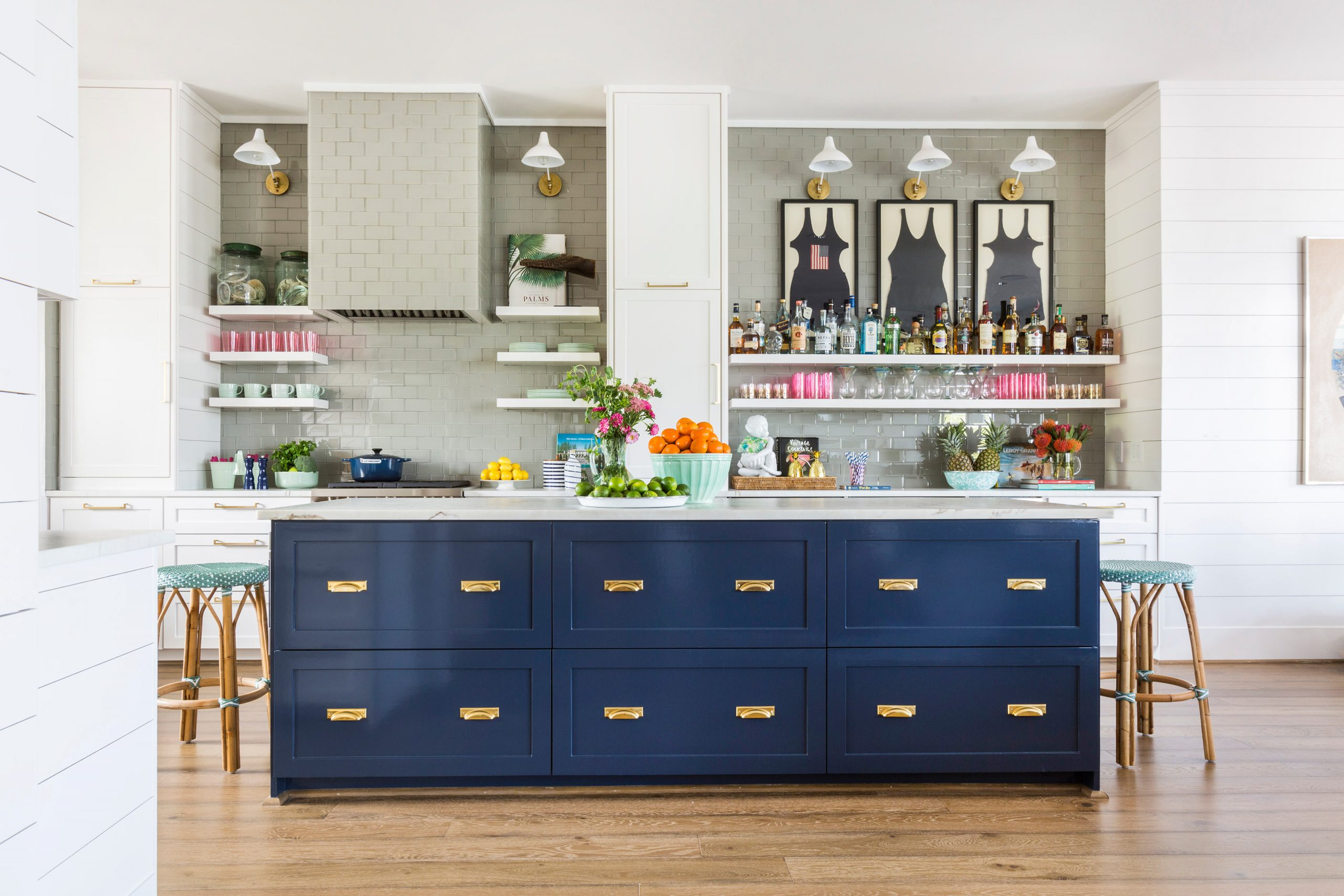 beach kitchen with wood floors and blue island - Creative Tonic