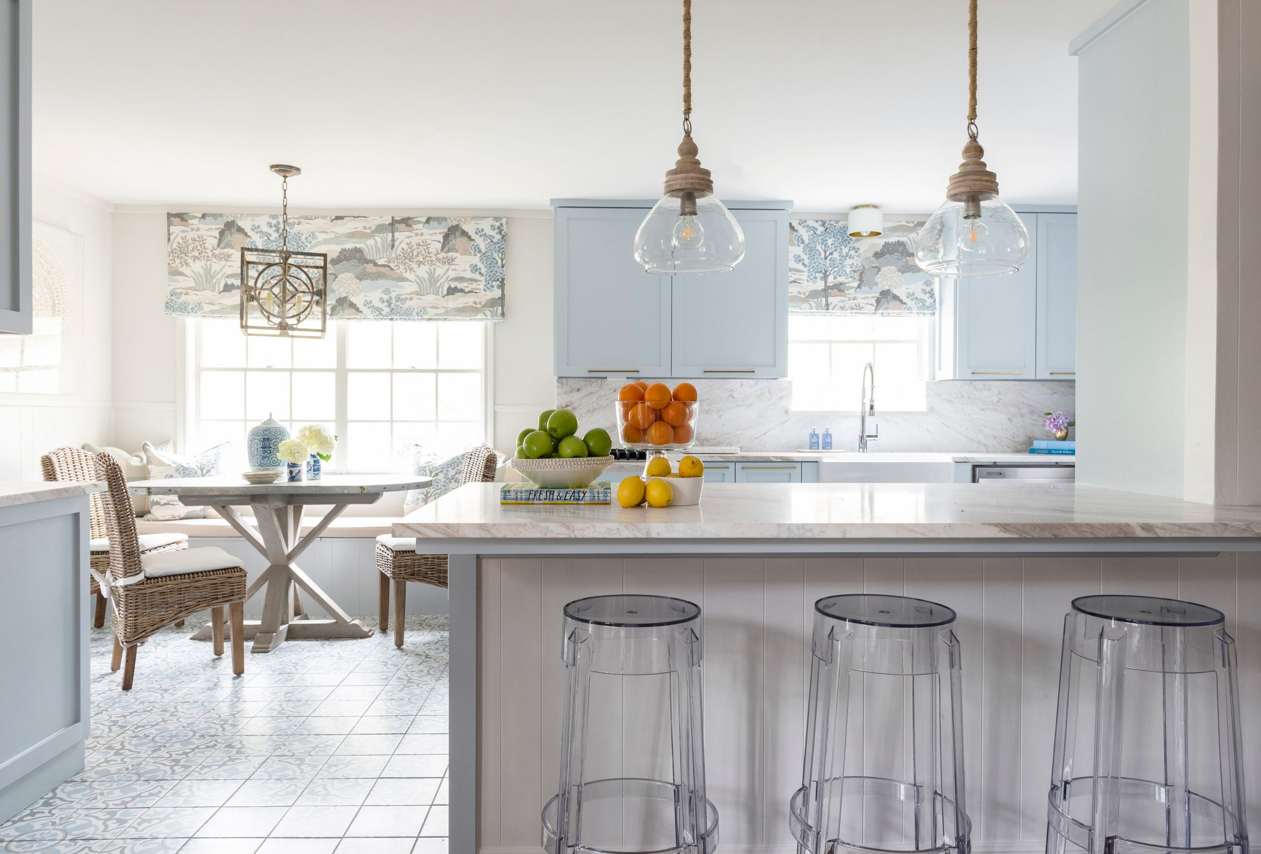 tiled kitchen with marble counter tops - Creative Tonic