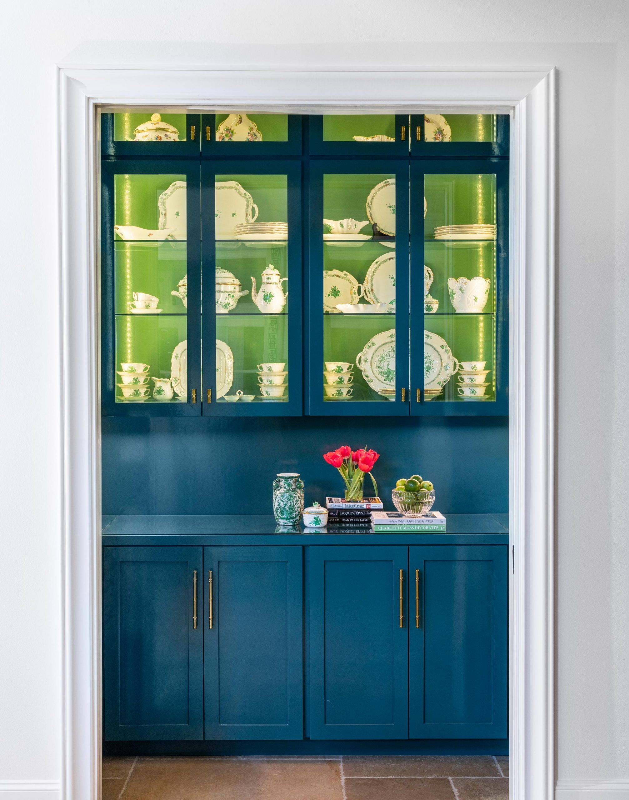 blue pantry with green cabinet interiors - Creative Tonic